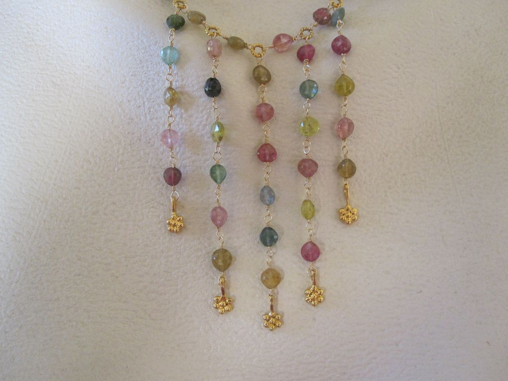 "14k /18K Solid Gold~ AAA Multi-color Tourmaline ""bib"" Necklace~2014"