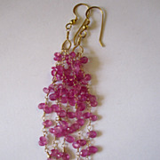 "18K Solid Gold~AAA+ Pink Sapphire ""Cascade"" Earrings~ 3.5""~only one pair"