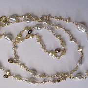 18K Solid Gold~AAA Japanese Keishi Pearls & Brown Diamonds Necklace~ 2014
