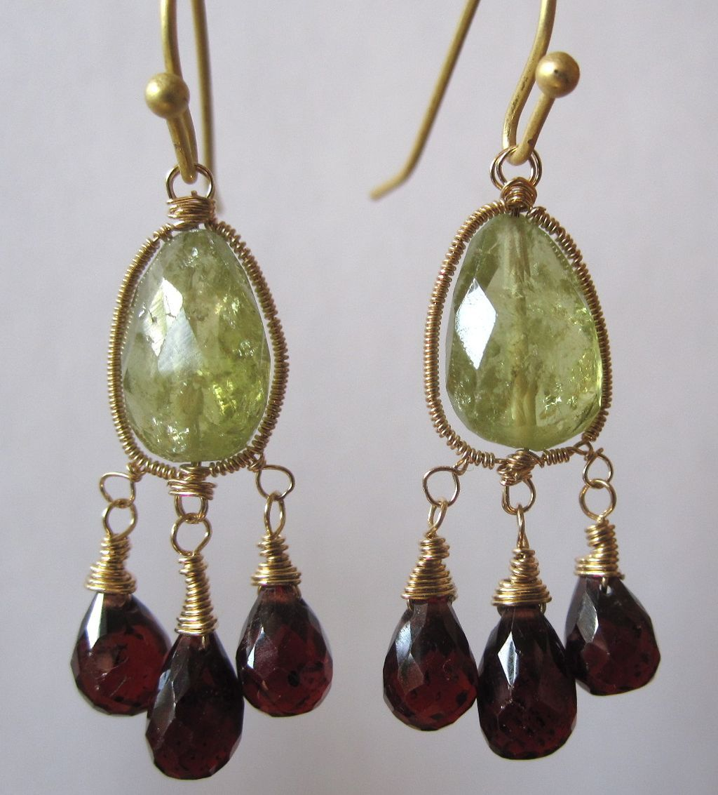 14K/18k solid gold~ Grossular Garnet & Red Garnet Chandelier Earrings~ 2014