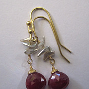 18K Solid Gold~Red Ruby & Wild Saltwater Keishi Pearl Earrings~2014