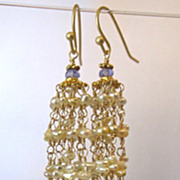 18K/14K Solid Gold~AAA Golden Keishi Pearl & Tanzanite Tassel Earrings~ 2014