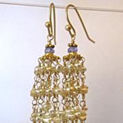 18K/14K Solid Gold~AAA Golden Keishi Pearl & Tanzanite Tassel Earrings~ 2014