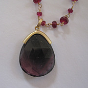 18k Solid Gold~AAA Pigeon Blood Rubies & Watermelon Tourmaline Pendant~
