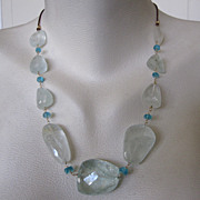 14K Solid Gold~ AA Aquamarine & Apatite & leather Necklace