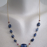 14K Solid Gold~AAA Cobalt Blue Kyanite & Red Tourmaline Victorian style Necklace~ only ne