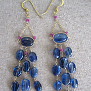 "18K & 14K Solid Gold~AAA Cobalt Blue Kayanite & Pink Sapphire ""Victoriana"" earrings 3.5""~ one of a kind"