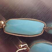 "14k & 18K Solid Gold~ AAA Blue Peruvian Opal  ""linear"" Earrings"