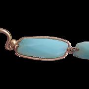 """14k & 18K Solid Gold~ AAA Blue Peruvian Opal  """"linear"""" Earrings"""