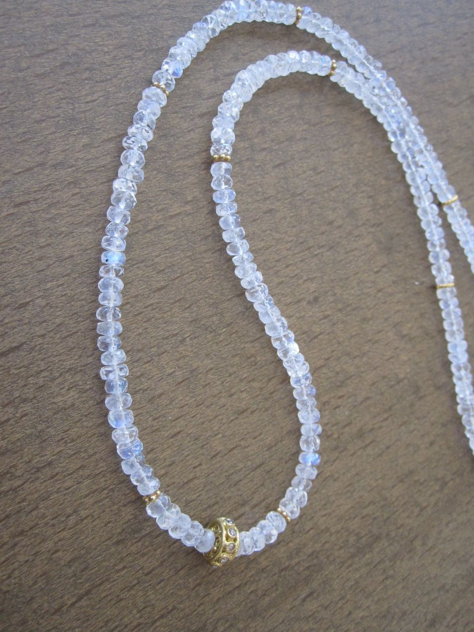"18K Solid Gold~AAA Ceylon Moonstone  & Diamond Necklace 18""~ 2014"