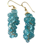 "18K Solid Gold~ Aqua Blue Apatite ""Bubble"" Earrings~ NEW!"