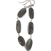 999 Fine Silver~ Coil-wrapped AAA blue flash Labradorite Earrings~NEW!