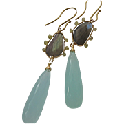 14K Solid Gold~ AAA Chalcedony , Labradorite & Diamond Earrings