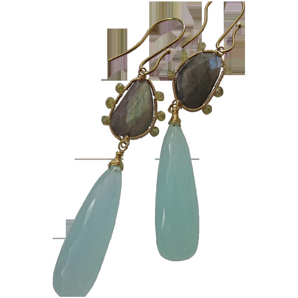 14K Solid Gold~ AAA Chalcedony , Labradorite & Diamond Earrings
