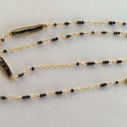 18K Solid Gold~Meticulously Wire-wrapped Black Diamond Necklace & Earrings set~ NEW!!