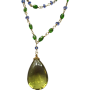"18K Solid Gold~ AAA Lemon Citrine, Chrome Diopside, & Tanzanite ""Lemon Drop"" Necklace 2015"