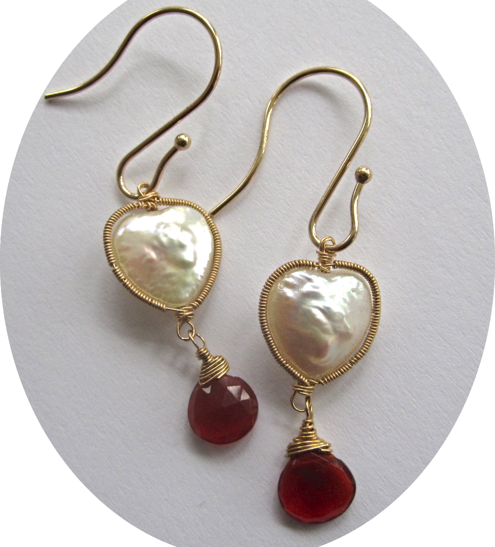 14K Solid Gold~ Heart-shaped Freshwater pearls & Mexican Fire Opal Earrings~ Happy Valentines Day!!