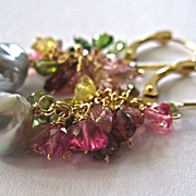 18K Solid Gold~ AAA multi-color Tourmaline & silvery Akoya Pearls EARRINGS