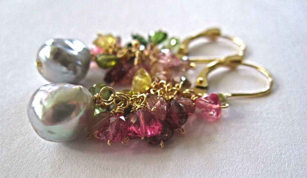 18K Solid Gold~ AAA multi-color Tourmaline & silvery Akoya Pearls EARRINGS