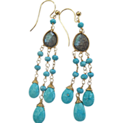 14K Solid Gold~ AA Labradorite & Sleeping Beauty Turquoise Boho Earrings~ Only one Pair