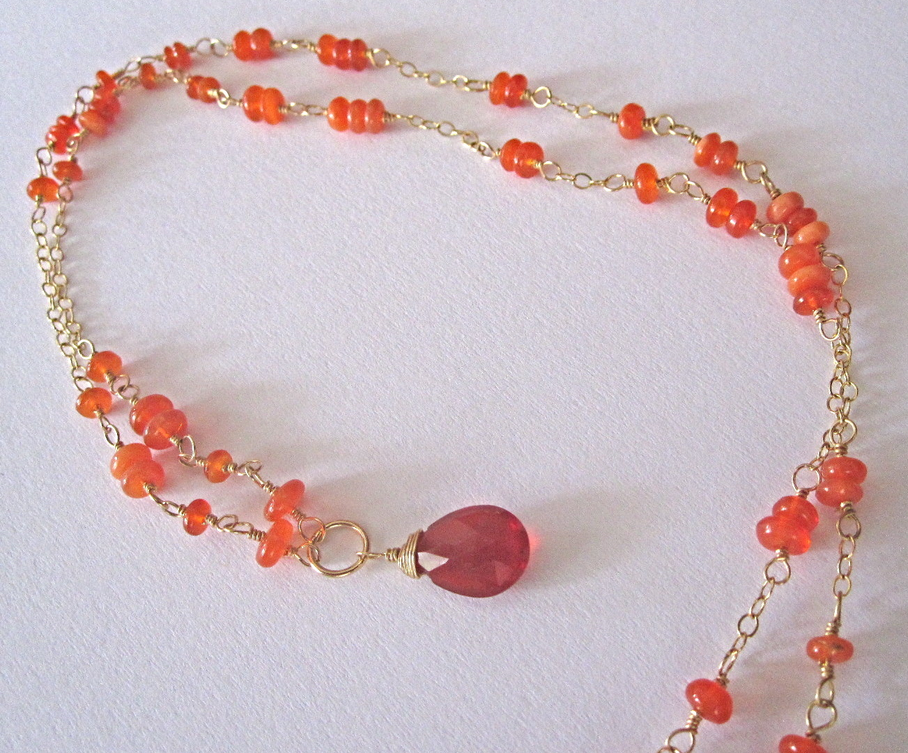 18K Solid Gold~AAA Mexican Fire Opal Necklace~ One of a kind