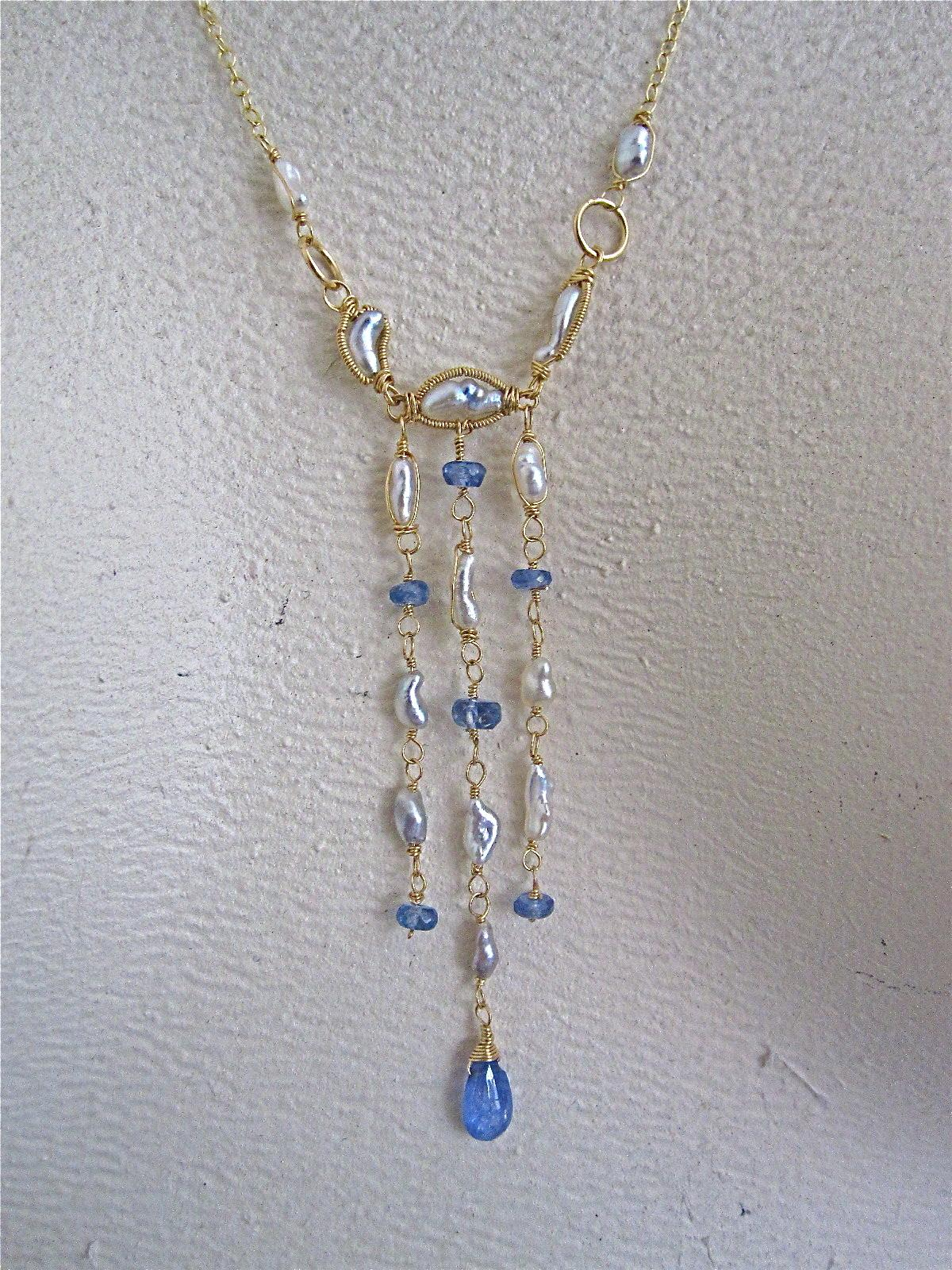 "18K Solid Gold~ Golden South Sea Keishi Pearls & Tanzanite ""Victoriana"" Necklace~ One of a Kind"