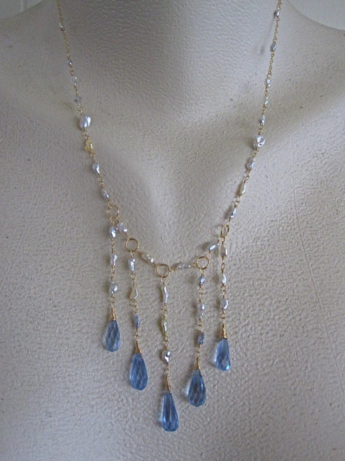 14K Solid Gold~ AAA South Sea Keishi Pearls and Blue Topaz Drops~ GODDESS Necklace~one of a kind
