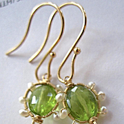 "Solid 14K Gold~ Faceted Peridot ""victoriana"" Earrings with seed pearls~2"" length"