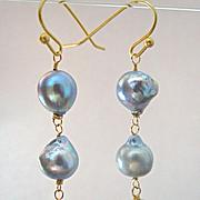14K Solid Gold~ Akoya & South Sea Pearl Earrings~ Triple Drop~2.5''