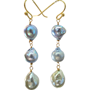 14K Solid Gold~ Akoya & South Sea Pearl Earrings~ Triple Drop~2.5'' - Red Tag Sale Item