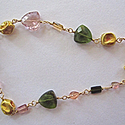 18K Solid Gold~AAA Tourmaline Ancient Bead Bracelet~one of a kind