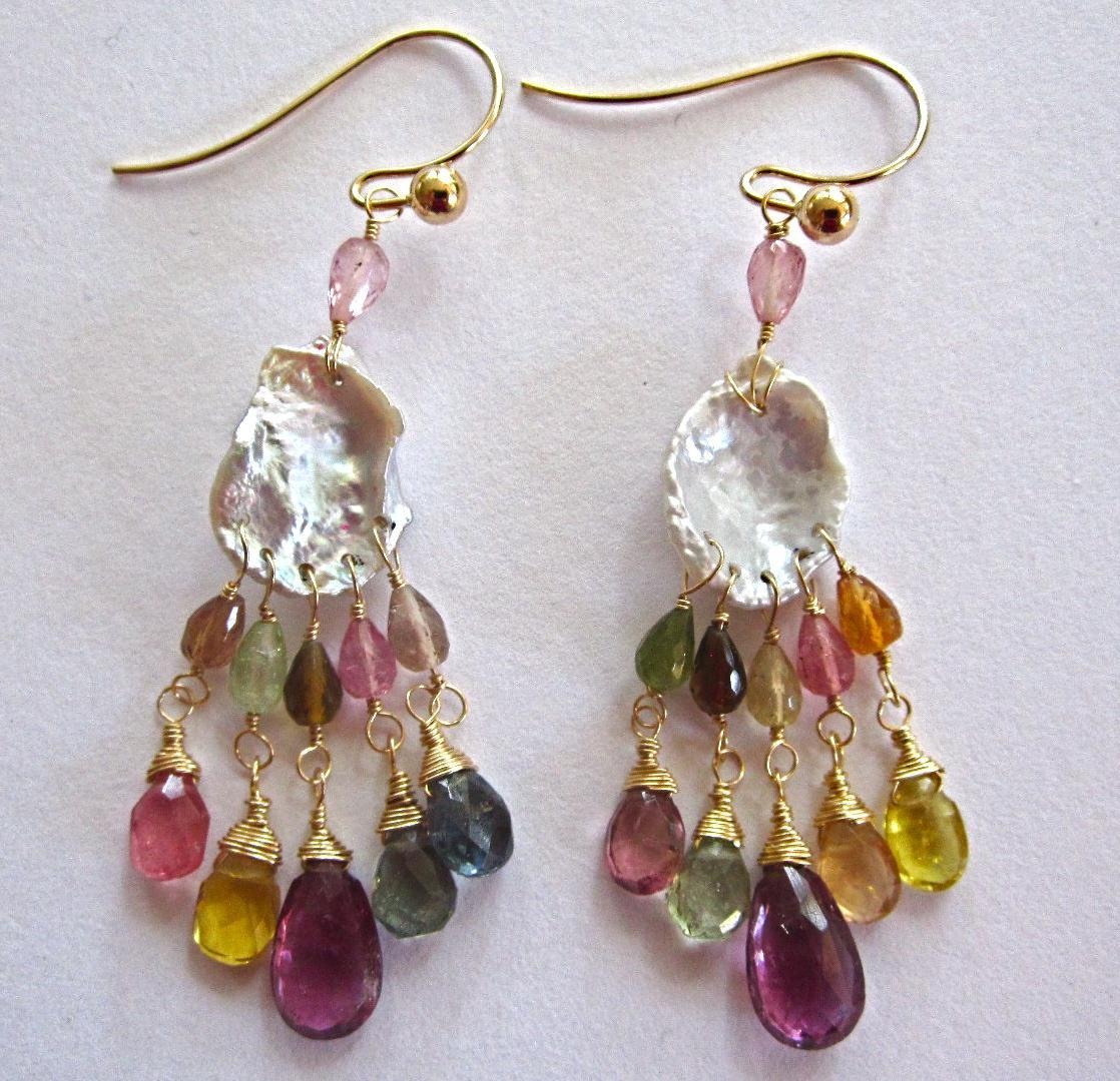"14K Solid Gold~Petal Pearls & AAA Tourmaline ""dream catcher"" Earrings~ 2"""