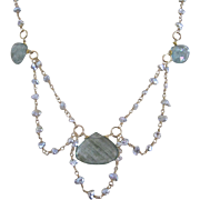 14K Solid Gold~AAA Silvery Keishi Pearls & Moss Aquamarine Hand cut, Art Deco(ish) Necklace~ only one