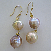 "14K/18K Solid Gold~ Genuine Japanese Kasumi Pearl ""Double Happiness"" Earrings~"