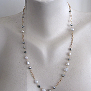 """14K Solid Gold~ South Sea Indonesian Keishi & Tahitian Keishi Necklace~ 22"""" one of a kind"""