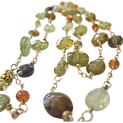 18K Solid Gold~ AA Grossular Garnet Long necklace~ New!