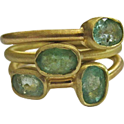 18K Solid Gold~AA Colombian Emerald Stack rings~Brand New!