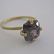 18K Solid Gold~AAA Purple Spinel & Hammered 18K yellow Gold Ring~ Only one