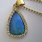 18K Solid Gold~ Stunning Australian Black Opal & Diamond Halo Necklace~ One of a kind