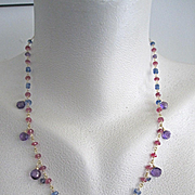 "18K Solid Gold~ AAA Rose Sapphires, Kyanite, Iolite, and African Amethyst ""Guinevere"" Necklace~ only one!"
