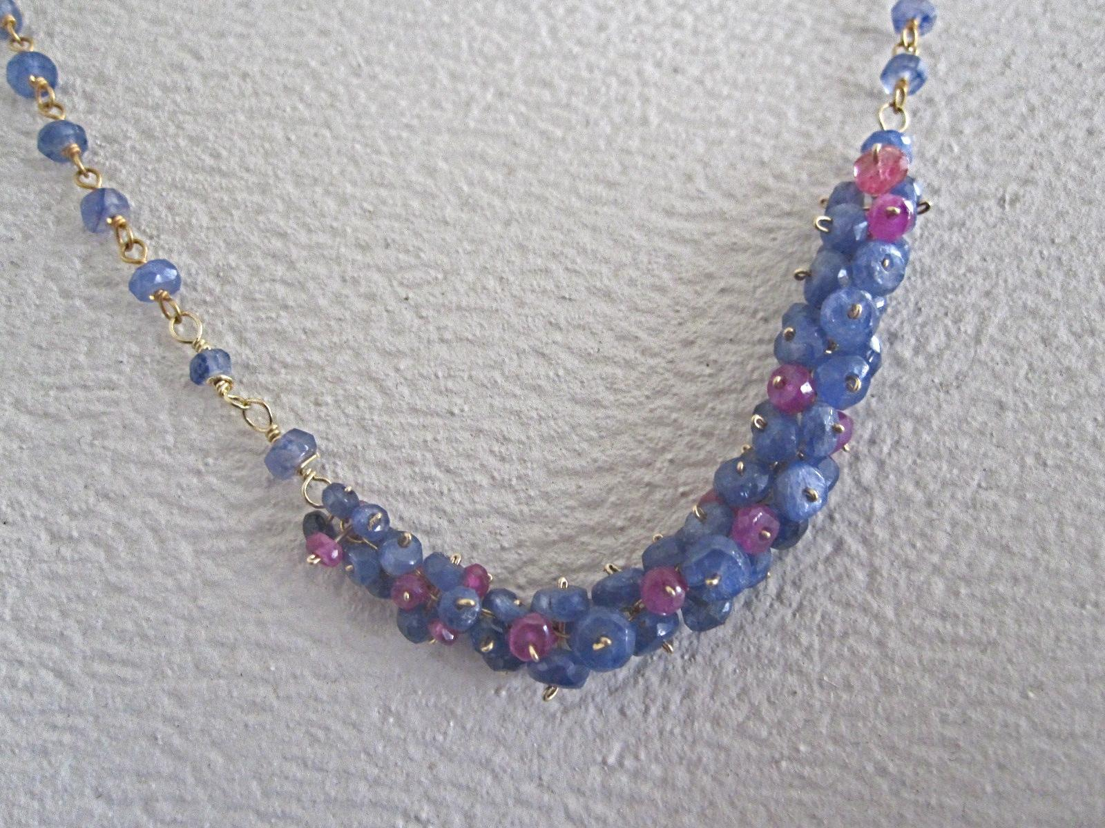 "18K Solid Gold~Blue Sapphire & Pink Sapphire ""Pinned"" Necklace"
