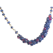 """18K Solid Gold~Blue Sapphire & Pink Sapphire """"Pinned"""" Necklace"""