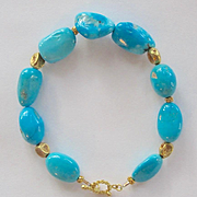 """18K Solid Gold~ Genuine, large, smooth polished Sleeping beauty Bracelet~ 8"""" ~can alter length to fit you"""