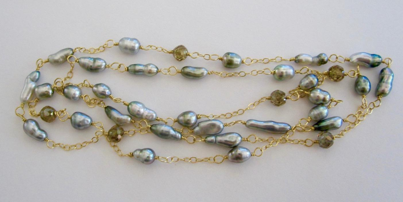 Solid 18K Gold~Silvery Tahitian Keshi Pearls & Champagne Diamond Necklace STUNNING! 22""