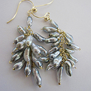 "14K & 18K Solid Gold~ AAA Tahitian Keshi Pearl ""cluster"" Earrings~ 2"" in length"