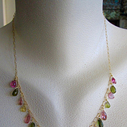 """18K Solid Gold~ AAA Tourmaline """"ARTEMIS"""" Necklace~ one of a kind~ 18"""" New!"""