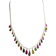 "18K Solid Gold~ AAA Tourmaline ""ARTEMIS"" Necklace~ one of a kind~ 18"" New!"
