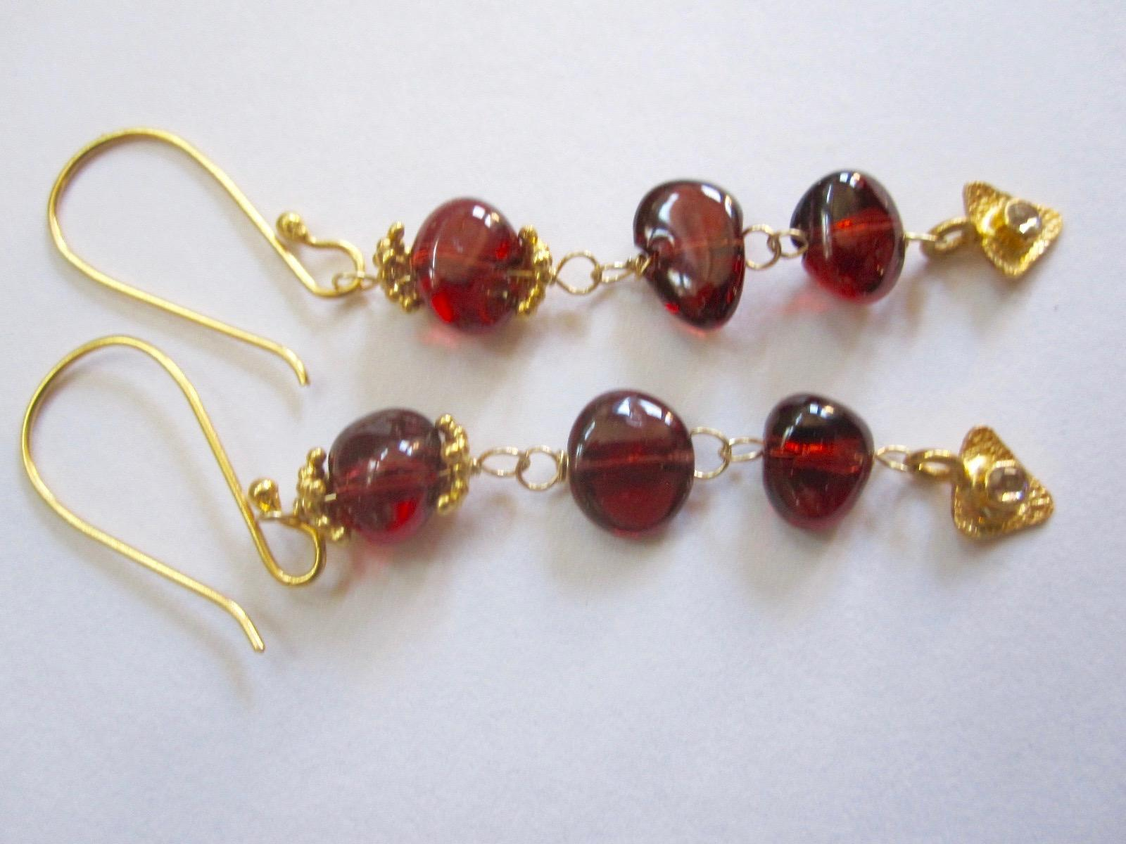 18K Solid Gold~ AAA Pyrope Red Garnet & Diamond Earrings~ Only one pair! NEW!! 2""