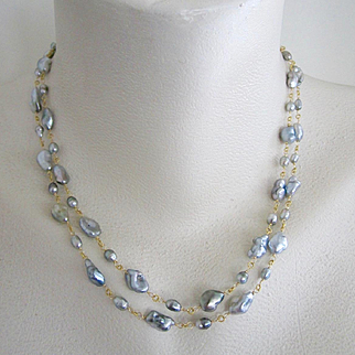 """18K Solid Gold~AAA Tahitian Keishi Pearl """"Double Delight"""" 2-strand Necklace~ only one! 18"""""""