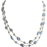 "18K Solid Gold~AAA Tahitian Keishi Pearl ""Double Delight"" 2-strand Necklace~ only one! 18"""